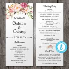 wedding program wedding program template instant bohemian floral