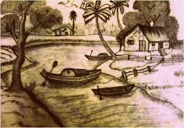 pencil sketch of a village scenery in thailand redgage