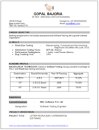 Sample Resume Format For Experienced Software Test Engineer by Sample Template Of An Excellent B Tech Ece Electronics And