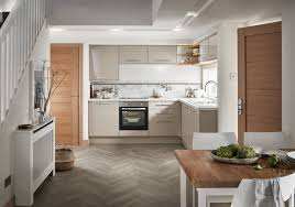 Slab Door Kitchen Cabinets by Complement The Cashmere Gloss Slab Door With White Grey Marble