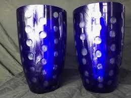 Blue Flower Vases 2 Handmade Pretty Round Bohemian Art Cut Glass Cobalt Blue Flower