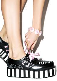 hello ribbon t u k pink ribbon hello bow creepers dolls kill