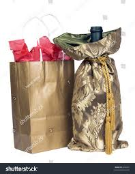 gold gift bags gold gift bag tissue paper stock photo 8293672