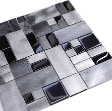 Black Glass Metal Backsplash Tile Modern Tile By Backsplash - Modern backsplash tile