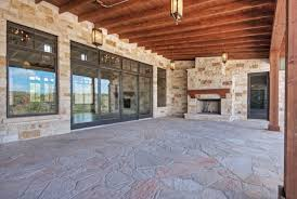 Floor And Decor Austin Texas Our Door Living Area Pine Ceiling Fir Columns Stone Fireplace