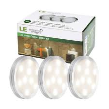 puck led under cabinet lighting 3 deluxe led kitchen light kit 510lm warm white puck lights le