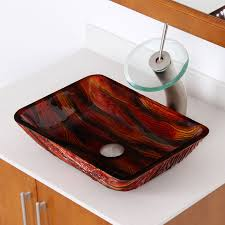 elite 1419 lava rectangle tempered glass bathroom vessel sink