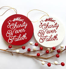 charity never faileth relief society ornaments lds