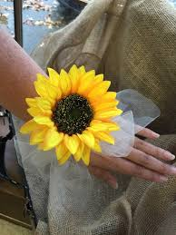 sunflower corsage sunflower wrist corsage sunflower corsage rustic corsage womans