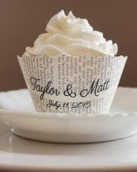 bridal cupcakes cupcake wrappers scalloped edge custom names and date wedding