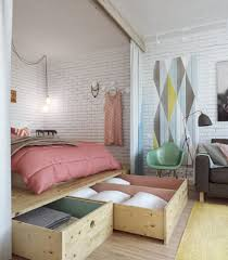 single bed with small room storage ideas in modern home interior