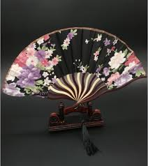 decorative fans decoration crafts wooden folding fan stand bamboo silk paper