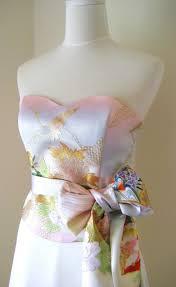 wedding dress with vintage kimono top obi bow sash belt gold