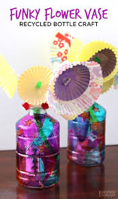 funky flower vase plastic bottle craft for kids b inspired mama