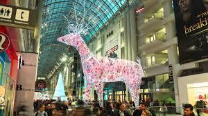 Christmas Lights Installation Toronto by Toronto Eaton Centre U0027s Giant Reindeer Installation Youtube