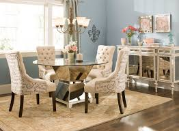 Upholstered Chairs Dining Room Roundning Table With Upholstered Chairs Glass Room Set Furniture