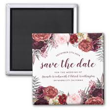 wedding save the date magnets marsala peony fall wedding save the date magnets zazzle