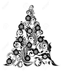 christmas tree with swirl leaves design and snowflakes ornaments