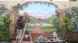 backyard pond mural painting time lapse youtube