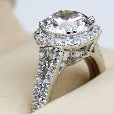 simulated engagement ring luxury center 3 carat simulated halo ring 9k white