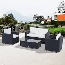 Patio Furniture In Ontario Ca by Outsunny 4 Piece Cushioned Outdoor Rattan Wicker Sofa Sectional