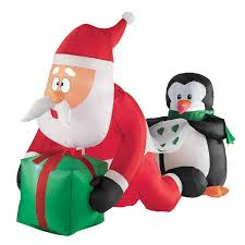 christmas inflatables christmas 4 whimsical santa and penguin