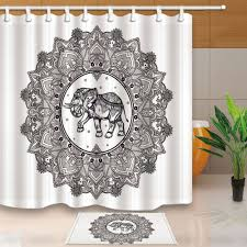 compare prices on elephant shower curtain hooks online shopping elephants and lotus bed bath shower curtain bedroom waterproof fabric 12 hooks china