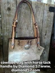 Hair On Cowhide Purse Cowhide Purse With Dark Brindle Horse Rein Handles Conchos 125