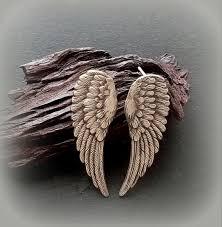 angel wing earrings items similar to angel wing earrings wing stud earrings with