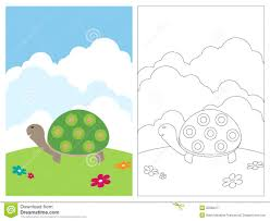 cute turtle coloring book page stock illustration image 71077649