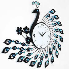 wall clocks gorgeous iron 3d peacock design with artificial diamonds