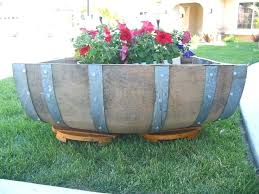 wooden planter barrels australia love the wine barrel planter this