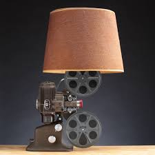 16mm projector lamp upcycled lighting handmade art deco light