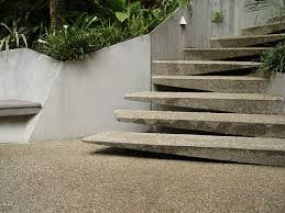 exterior concrete cantilevered stair frontal overview stairs