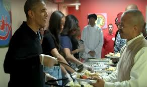 barack obama and family spread cheer on thanksgiving by