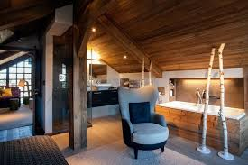 chalet style two level apartment transformed into a chalet home interior
