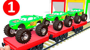 monster truck videos on youtube learn numbers for kids with mcqueen monster truck toys color