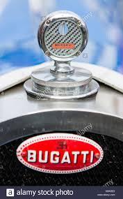 bugatti classic nameplate and thermometer at radiator grille of bugatti classic