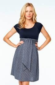 maternal america navy knit dots front tie scoop neck maternity dress