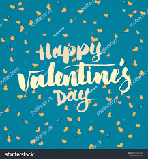 happy valentine day lettering hand written stock vector 358941668