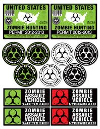 zombie hunter jeep 13 pack zombie hunting permit license sticker decal graphics for atv