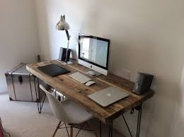 Office Desks Wood Industrial Chic Reclaimed Custom Hairpin Leg Office Desk Tables
