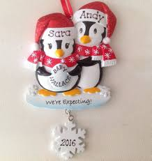 personalized ornament penguins expecting