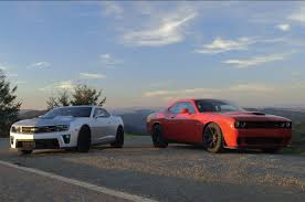 dodge charger vs challenger chevy camaro zl1 battles dodge challenger srt hellcat on 2