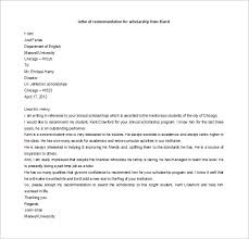 reference letter template for scholarship letters of
