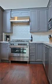 red oak wood natural shaker door grey cabinets in kitchen