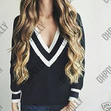 womens varsity oversized sweater jumper knitted deep v low cut
