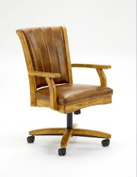brown leather dining chair with brown polished wooden frame and