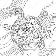 coloring page turtle sea turtle doodle hand drawn vector illustration coloring book