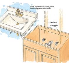 Bathroom Vanity Installation Entranching How To Install A Bathroom Vanity On Cabinet
